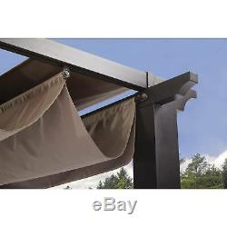 Large Outdoor Pergola Gazebo Home Shade Garden Aluminum Steel 9' x 9' Black New