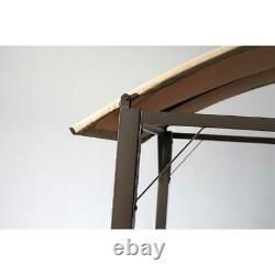 Lauderdale Curved Hardtop Grill Gazebo Lightweight Brown Outdoor Backyard Canopy
