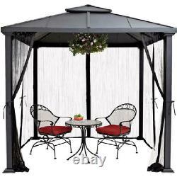 Luxury Outdoor Gazebo Patio Hard Top Curtains Netting Rust Resistant Steel 8x8ft