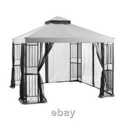 Mainstays 10 x 10 Easy Assembly Outdoor Steel Garden Gazebo Heavy Duty, Grey