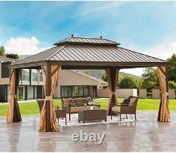 Mellcom Hardtop Gazebo 12' X 16' Galvanized Steel Outdoor Gazebo Canopy Double V