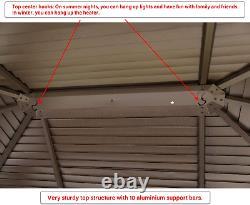 Mellcom Hardtop Gazebo Galvanized Steel Outdoor Gazebo Canopy 10 ×13 Sing