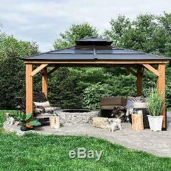 New 10ft x 10ft. Cedar Framed Gazebo Brown Steel Hard Top Patio Outdoor Party