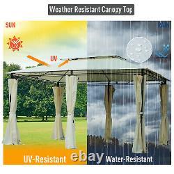 Outdoor 10' x 13' Soft Top Gazebo with Curtains, 2-Tier Steel Frame Gazebo Patio