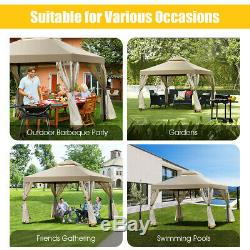Outdoor 2-Tier 10'x10' Gazebo Canopy Shelter Awning Tent Patio Garden Brown New