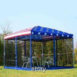 Outdoor Garden Gazebo Patio BBQ Shelter Portable Pop Up Party Tent US Flag 10x10