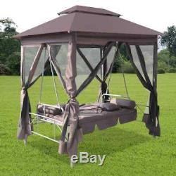 Outdoor Garden Gazebo Swing Chair with Mesh Wall Brown 86.6 x 63 x 94.5