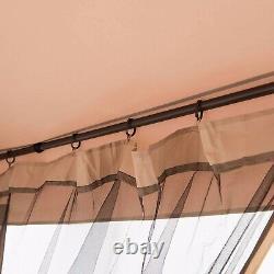 Outdoor Gazebo 10x10ft Side Curtains, Aluminum Hardtop For Backyard Bug Nets
