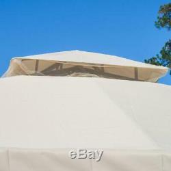 Outdoor Gazebo Canopy 10 ft. X 10 Beige Patio Gazebos Mosquito Netting Deck NEW