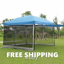 Outdoor Gazebo Canopy 10'x10' Pop Up Party Tent Mesh Mosquito Net Patio Tan NEW