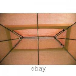 Outdoor Gazebo Steel frame Vented Gazebo with Netting Brown N34 12'X 10