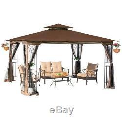 Outdoor Gazebo With Netting Canopy Backyard Tent 10 x 12 Garden Patio Wedding