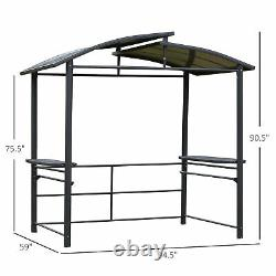 Outdoor Grilling & Party Deck Gazebo with 2 Shelves & Poles for Hanging Tools