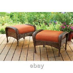 Outdoor Ottoman 2-Set All-Weather Wicker Home Patio Porch Garden Gazebo Seating
