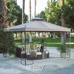 Outdoor Patio 10 x 12 Open-Air Gazebo Tiered Water Repellent Canopy Vent/Net