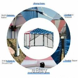 Outdoor Patio 10x10 Pop-up Canopy Tent Gazebo waterproof America USA Flag Print
