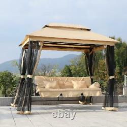 Outdoor Patio Daybed Gazebo Swing With Canopy And Mesh Walls- 3 Person