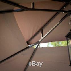 Outdoor Patio Garden Gazebo Steel Frame with Curtains 10 x 12 ft. Brown Screened