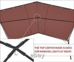 Outdoor Pergola Brown Canopy Heavy Duty Gazebo 12' x 12' Tent Black Steel Frame