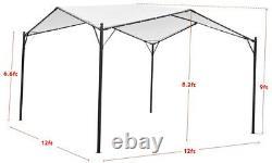 Outdoor Pergola White Canopy Square Gazebo 12x12 Black Steel Frame Shade Modern