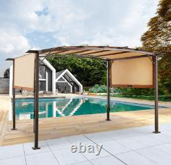 Outdoor Retractable Pergola Canopy, Outdoor Steel Pergola Gazebo with Retractabl