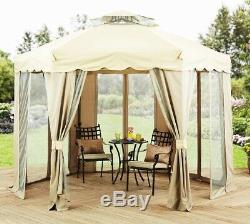 Outdoor Steel Gazebo Large Canopy Shelter 6 Sided with Mosquito Netting 12 X 12