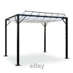 Outdoor Steel Louvered Pergola Pavilion Gazebo Canopy Cover Backyard Sunshade