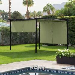 Outdoor Steel Pergola Gazebo Patio Sun Shade with Retractable Canopy 10 x 12 Ft