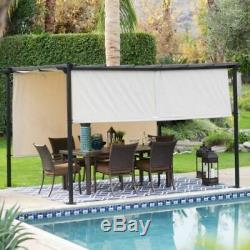 Outdoor Steel Pergola Gazebo Patio Sun Shade with Retractable Canopy 10 x 12 Ft