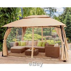 Outdoor Gazebo With Netting Canopy 10x10 Tent Pergola Patio