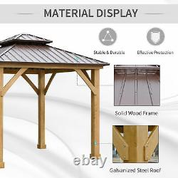 Outsunny 10' x 10' Hardtop Gazebo Patio Shelter Outdoor with Steel 2-Tier Roof