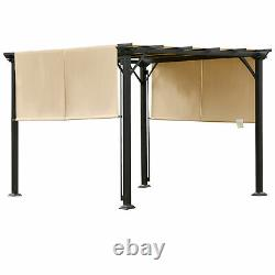 Outsunny 10' x 10' Outdoor Patio Gazebo Pergola with Retractable Canopy Roof