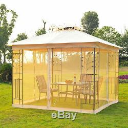 Outsunny 10 x 10 Steel Fabric Rectangle Outdoor Gazebo with Mesh Curtain