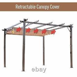 Outsunny 10' x 10' Steel Outdoor Pergola Gazebo Backyard Brown 10 x 10