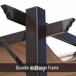 Outsunny 10' x 13' Steel Outdoor Patio Pergola Gazebo Brown 10 x 13