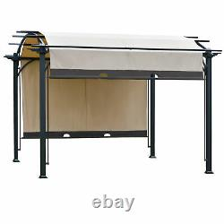 Outsunny 11' x 11' Outdoor Patio Gazebo Pergola with Retractable Canopy Roof