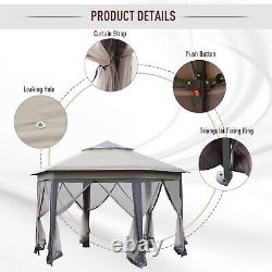 Outsunny 12 Steel Fabric Hexagon Pop Up Outdoor Gazebo with Netted Mesh