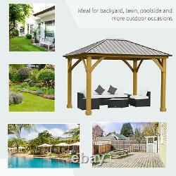 Outsunny 12' x 10' Hardtop Gazebo Patio Shelter Outdoor with Steel Slanted Roof