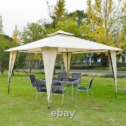 Outsunny 12' x 12' Outdoor Canopy Tent Party Gazebo with Double-Tier Roof Beige