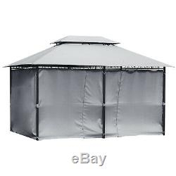 Outsunny 13 x 10 Outdoor 2-Tier Steel Frame Gazebo with Curtains Black/Grey