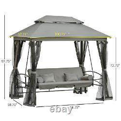 Outsunny 3 Person Canopy Gazebo Swing Daybed Outdoor Patio with Mesh Walls Grey
