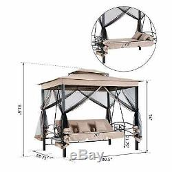 Outsunny 3 Person Outdoor Patio Daybed Gazebo Swing With UV Black