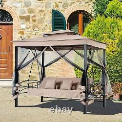 Outsunny 3-person Outdoor Daybed Gazebo Swing Chair Black