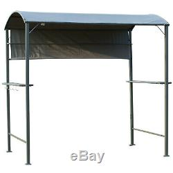 Outsunny 7 ft Outdoor Patio BBQ Grill Canopy Gazebo Tent with Side Awning & Hooks