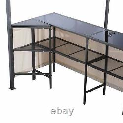 Outsunny 8 ft x 8 ft Outdoor Covered Bar Gazebo Set with Beige 8 x 8