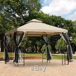 Outsunny Outdoor Patio Gazebo Pavilion Canopy Tent Steel with Mosquito Netting
