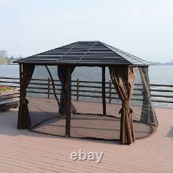 Outsunny Steel Hardtop Outdoor Gazebo (12' x 10') Brown 10 x 12