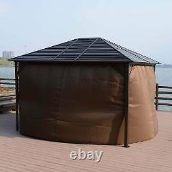 Outsunny Steel Hardtop Outdoor Gazebo (12' x 10') Brown 10 x 12