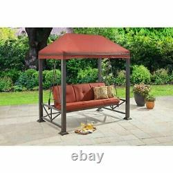 Patio Porch Swing Gazebo Bed Canopy Chair Outdoor Lounge Hammock 3-Person Red