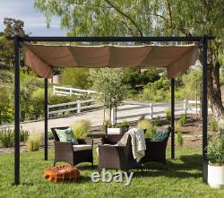 Pergola Gazebo Retractable Canopy Shade Garden Outdoor Backyard Black Metal New